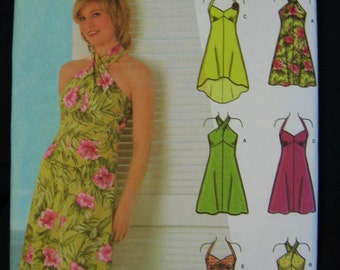 Simplicity Jr Trend Halter Convertible Dress Pattern 4560 Uncut Size 11 12 13 14 15 16