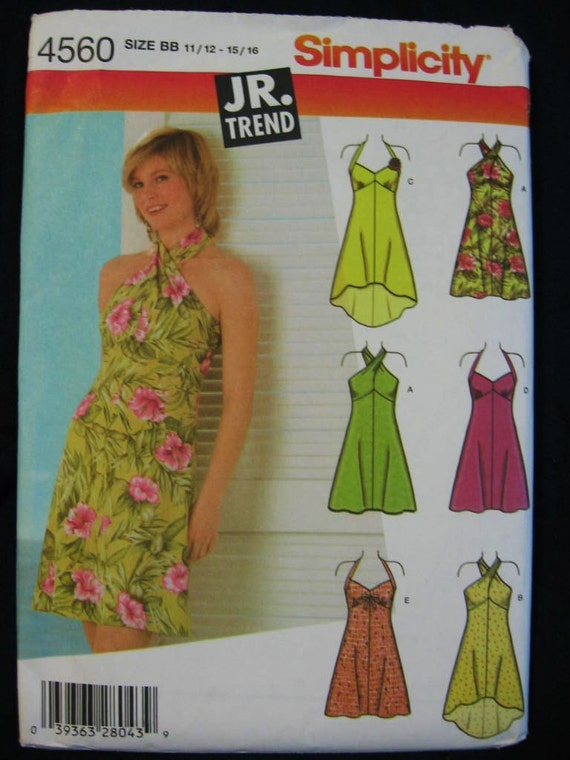 Simplicity Jr Trend Halter Convertible Dress Pattern 4560