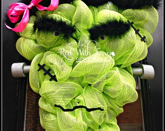 Mrs. Frankenstein Wreath, Frankenstein, Large Halloween Wreath, Halloween Wreath, Deco Mesh Wreath, Wreath,Pumpkin, Pumpkin Wreath