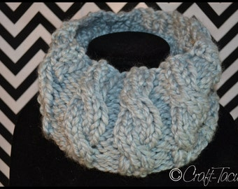 Hand Knit Cabled Cowl