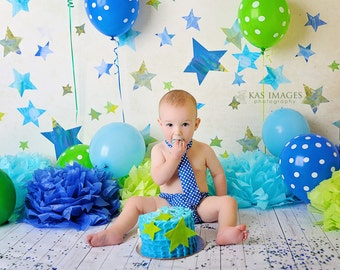 Baby Boy Tie and Diaper cover SET - Little Boy Blue Polka Dots
