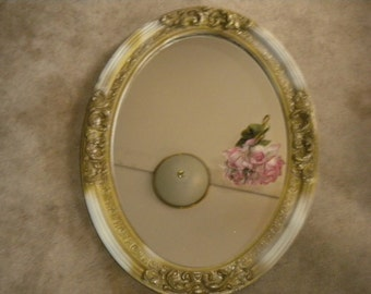 Beautiful Vintage Oval Gesso Mirror, Hollywood Regency, French, French Country, Shabby Chic