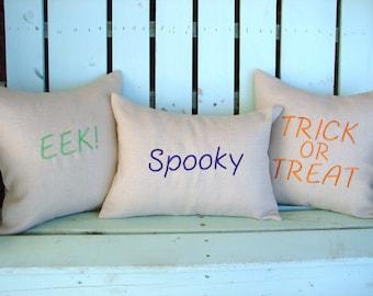 Set of 3 lumbar monogram Halloween-decorative pillow cover-gifts under 40-throw pillow-accent pillow-Fall decor-Halloween gifts