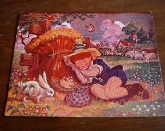 Vintage Puzzle, Children's Toys, Little Boy Blue, Play Room Decor