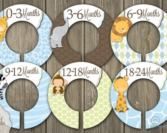 On Sale! Jungle Animals Baby or Child Closet Organizing Dividers - Assembled