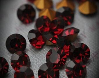 1100 34ss Genuine Swarovski Crystals Ruby Rounds Foiled Rhinestones 20pcs
