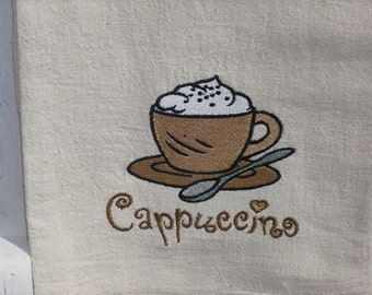 Cappuccino flour sack towel. Machine embroidered.