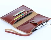 Leather iPhone Wallet case with zipper pocket in Tan Brown - 3 slots (For iPhone4s, iPhone5/5s)
