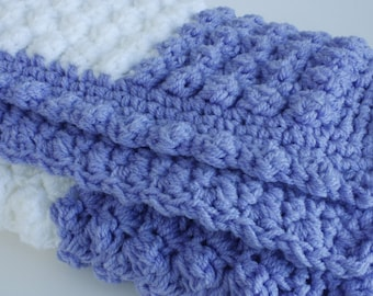 Lavender and white handmade extra thickness crochet baby blanket/shawl. Ideal Christening / shower /new baby gift.
