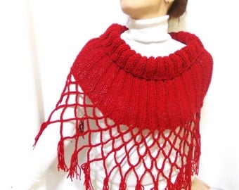 Personalized Red Capelet, Knitted Scarf, Handmade scarf shawl, Shoulder Wrap Hand Knitted, Red bolero, Fringed shawl, Eternity shawl