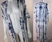 Shibori Japanese Kimono Cardigan Robe Womens jersey Knit Duster  bathing suit coverups