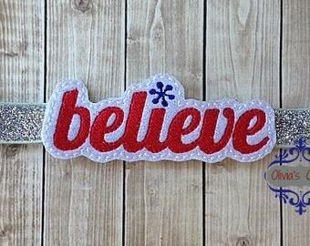Believe headband Believe in the season- Snowflake Believe Headband. Celebrate the Holidays in style!