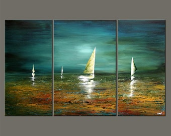 "Sailboat Painting Abstract Seascape Original Acrylic Painting Teal, Turquoise, Green by Osnat - MADE-TO-ORDER - 60""x36"""