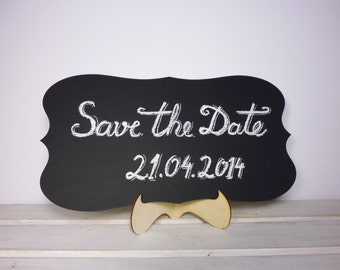 "15""x 8"" Wedding Chalkboard with Stand Scroll Wooden Chalk Board Wedding Sign Photo Prop Menu Table Centerpiece Save the Date Pics Prop"