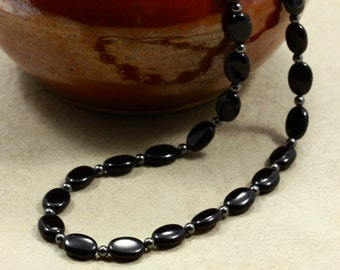 Long Onyx Necklace with Hematite, Black Necklace, Long Necklace, Hematite Necklace, Long Black Necklace