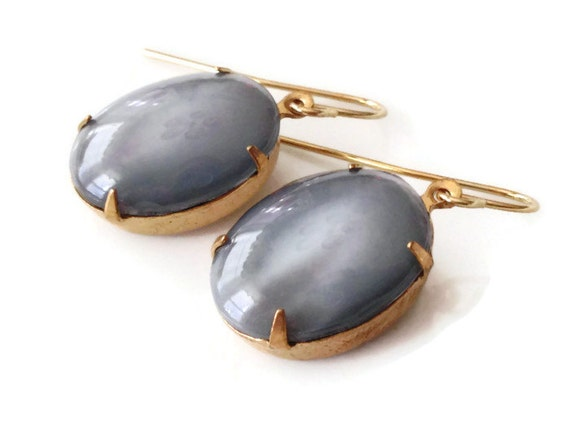 Fifty Shades of Grey Vintage Jewel Chunky Gray Moonstone French Hook Earring