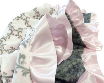 Minky Pet Blanket Pink and Gray Damask Minky With Satin Ruffle