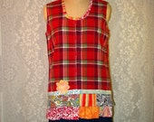 Clearance Sale Size L Sleeveless Button Front Plaid Top Cotton Grunge Boho Upcycled Upscaled Altered Clothing Eco Chic