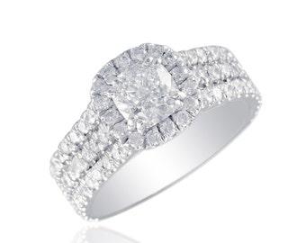 GIA Cushion & Round Cut 1.91 CTW Diamond Engagement Ring 14k W/G Pave Style