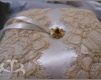 Champagne and Gold Ring Bearer Pillow Fantastic Lace