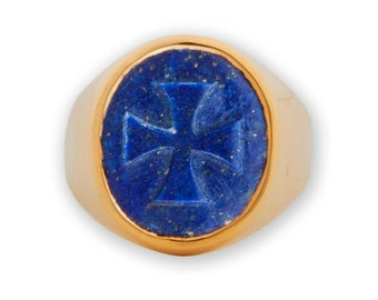 Lapis Ring Templar Cross Hand Carved Gold Plated Sterling Silver 925