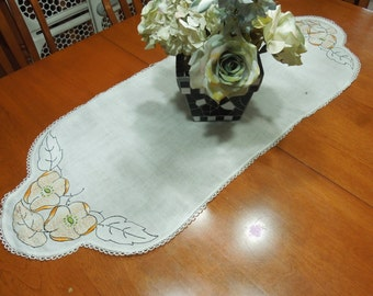 Vintage white linen dresser scarf table runner doily with crochet border and embroidered design for home decor by MarlenesAttic