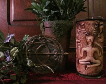 The Gold Horned God Cernunnos Candleholder: god, nature, sabbats, deities, altar, ritual, decor, decorations, offerings, sacred, apothecary