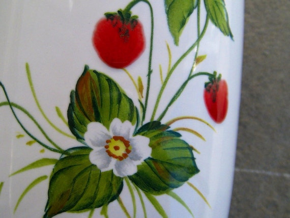 Signed Hand-Painted Art Pottery Wild Stawberries Vase
