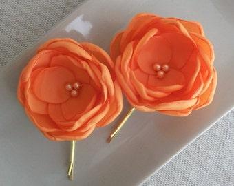 Small Orange flowers in handmade, Tangerine hair clip shoe clip Bobby Pin Alligator Clip, Bridesmaids hair flower Weddings Dress Brooch Sash