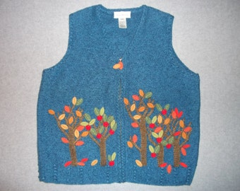 Fall Leaves Falling Leave Me Alone Sweater Vest Zip Up Halloween Thanksgiving All Hallows Eve Tacky Gaudy Ugly Christmas Party L Large