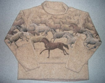 Wild West Mustangs Horses Running Sweater Tacky Gaudy Ugly Christmas Sweater Party X-Mas Winter Warm Made In USA L Large