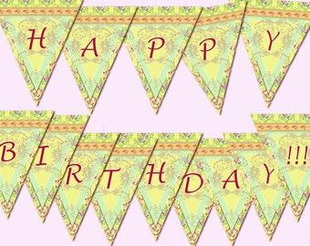 "Printable digital Banner ""Happy Birthday"" birthday party Shabby Chic digital printable banner birthday printables birthday party"