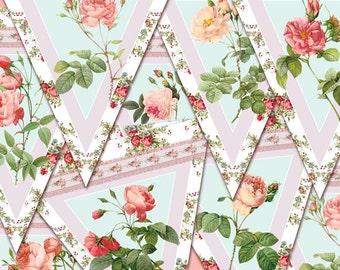 Printable  digital banner rose digital wedding  banner Shabby Chic digital printable vintage baby girls birthday  rose love