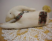 Rabbit, Primitive Rabbit, Stained Muslin Bunny Rabbit