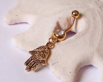 Gold Belly Button Ring - Gold Belly Jewelry - Gold Fatima Hand on Single Jeweled Barbell - Made to Order