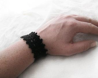 Black Lace Cuff Bracelet - Egyptian Cotton, Crochet Jewelry - Victorian Gothic Fashion Modern Filigree Halloween Neutral