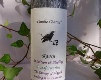 Animal Totem Raven 2 x 6 Black Magick Palm Wax Pillar Candle