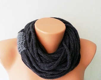 SCARF- wool chain necklace - Infinity Scarf ,Noodle Scarves Fashion Neckwarmer Circle Necklace Chunky Cowl dark grey