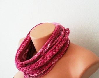 SCARF- wool chain necklace - Infinity Scarf ,Noodle Scarves Fashion Neckwarmer Circle Necklace Chunky Cowl pink