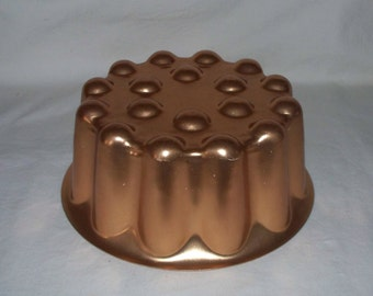 Copper Round Jello Mold Vintage Kitchen
