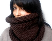 Chocolate Brown Double Spirit Cowl Super Soft Mixed Cashmere  Neckwarmer Unisex Double Face Reversible Big Chunky Cow Chunky Knit NEW