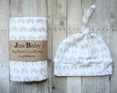 Unisex Elephant Blanket & Swaddle Wrap, EVERYTHING blanket in super soft Jersey Knit by JuteBaby