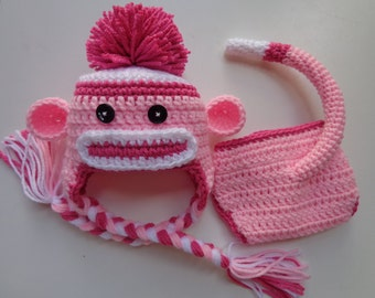 Newborn Crochet Pink Sock Monkey Hat and Diaper Cover