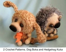S7 Dog and Hedgehog - Amigurumi Crochet Patterns PDF file by Pertseva Etsy