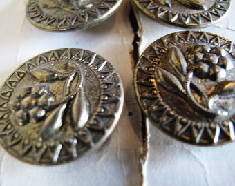 12 Brass Buttons, Ornate, Costuming, Large, 25mm, Matching set, Lot, NOS ,On Cards, Floral motiff,