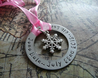 Custom hand stamped metal ornament, baby's first christmas, personalise, snowflake, silver