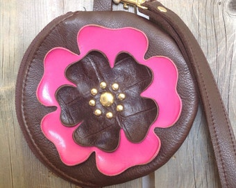 Espresso Brown Round Leather Wristlet & Hot Pink/Brown Flower- Soft Leather Purse - One Of A Kind - Handmade - Gifts for Her