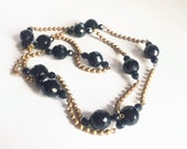Art Deco French Jet Glass Sautoir Necklace, multi faceted mirrored glass Bead Mourning Jewelry Necklace