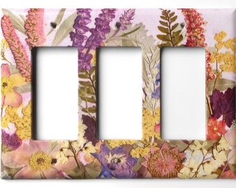 Rocker Switch Plates Pressed Flower Art PRINT that looks so real , 3 dimentional