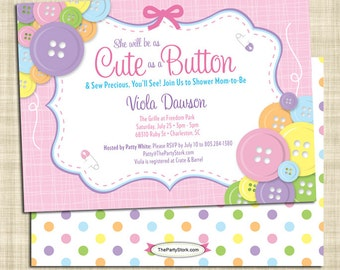 Cute as a Button Baby Shower Invitation, Girl Baby Shower Invitations, Pink Baby Shower Invitations Printable, Baby Girl Invitations